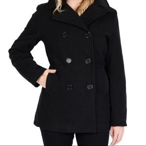 J.Crew black wool double breasted pea coat